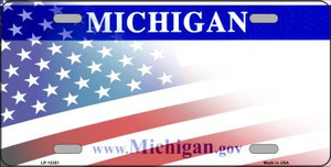 Michigan with American Flag Wholesale Novelty Metal License Plate LP-12351