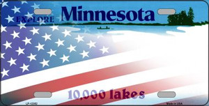 Minnesota with American Flag Wholesale Novelty Metal License Plate LP-12352