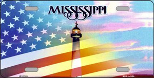 Mississippi with American Flag Wholesale Novelty Metal License Plate LP-12353