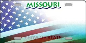 Missouri with American Flag Wholesale Novelty Metal License Plate LP-12354