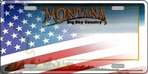 Montana with American Flag Wholesale Novelty Metal License Plate LP-12355