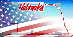Nebraska with American Flag Wholesale Novelty Metal License Plate LP-12356