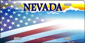 Nevada with American Flag Wholesale Novelty Metal License Plate LP-12357