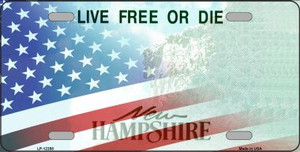 New Hampshire with American Flag Wholesale Novelty Metal License Plate LP-12358
