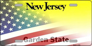 New Jersey with American Flag Wholesale Novelty Metal License Plate LP-12360
