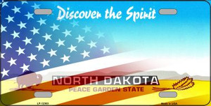 North Dakota with American Flag Wholesale Novelty Metal License Plate LP-12363