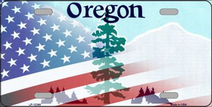 Oregon with American Flag Wholesale Novelty Metal License Plate LP-12366