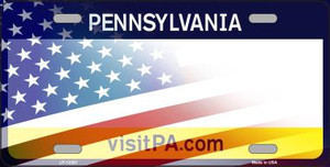 Pennsylvania with American Flag Wholesale Novelty Metal License Plate LP-12367