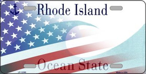 Rhode Island with American Flag Wholesale Novelty Metal License Plate LP-12368