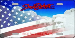 South Dakota with American Flag Wholesale Novelty Metal License Plate LP-12370