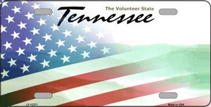 Tennessee with American Flag Wholesale Novelty Metal License Plate LP-12371
