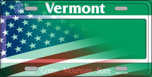 Vermont with American Flag Wholesale Novelty Metal License Plate LP-12374