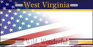 West Virginia with American Flag Wholesale Novelty Metal License Plate LP-12377