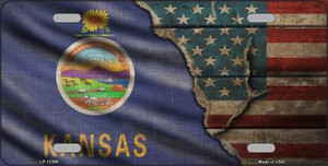 Kansas/American Flag Wholesale Novelty Metal License Plate LP-12395