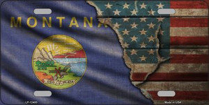 Montana/American Flag Wholesale Novelty Metal License Plate LP-12405