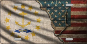 Rhode Island/American Flag Wholesale Novelty Metal License Plate LP-12418