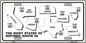 Route 66 Historic States Novelty Wholesale Metal License Plate