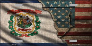 West Virginia/American Flag Wholesale Novelty Metal License Plate LP-12427