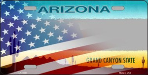 Arizona with American Flag Wholesale Novelty Metal License Plate LP-12431