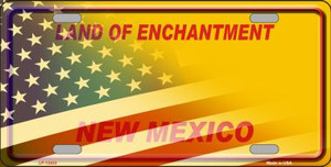 New Mexico with American Flag Wholesale Novelty Metal License Plate LP-12433
