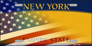 New York with American Flag Wholesale Novelty Metal License Plate LP-12441