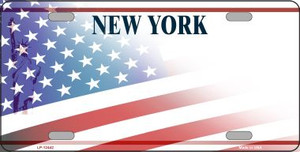 New York with American Flag Wholesale Novelty Metal License Plate LP-12442