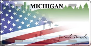 Michigan with American Flag Wholesale Novelty Metal License Plate LP-12444