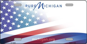 Michigan with American Flag Wholesale Novelty Metal License Plate LP-12445