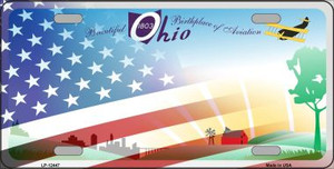 Ohio with American Flag Wholesale Novelty Metal License Plate LP-12447