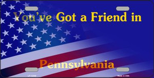 Pennsylvania with American Flag Wholesale Novelty Metal License Plate LP-12448