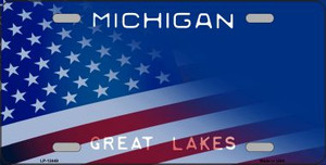 Michigan with American Flag Wholesale Novelty Metal License Plate LP-12449