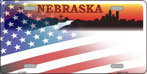 Nebraska with American Flag Wholesale Novelty Metal License Plate LP-12450