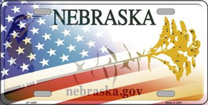 Nebraska with American Flag Wholesale Novelty Metal License Plate LP-12451