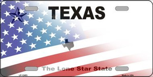 Texas with American Flag Wholesale Novelty Metal License Plate LP-12453