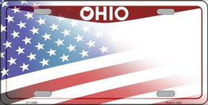 Ohio with American Flag Wholesale Novelty Metal License Plate LP-12456