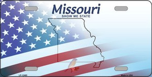 Missouri with American Flag Wholesale Novelty Metal License Plate LP-12465