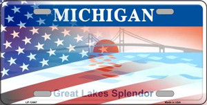 Michigan with American Flag Wholesale Novelty Metal License Plate LP-12467