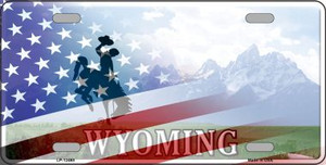 Wyoming with American Flag Wholesale Novelty Metal License Plate LP-12468