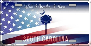South Carolina with American Flag Wholesale Novelty Metal License Plate LP-12473