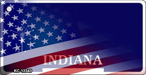 Indiana with American Flag Wholesale Novelty Metal Key Chain KC-12343