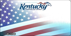 Kentucky with American Flag Wholesale Novelty Metal Key Chain KC-12346