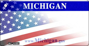 Michigan with American Flag Wholesale Novelty Metal Key Chain KC-12351