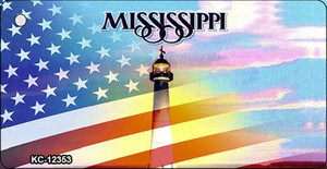 Mississippi with American Flag Wholesale Novelty Metal Key Chain KC-12353