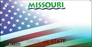 Missouri with American Flag Wholesale Novelty Metal Key Chain KC-12354