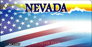 Nevada with American Flag Wholesale Novelty Metal Key Chain KC-12357