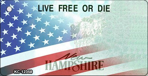 New Hampshire with American Flag Wholesale Novelty Metal Key Chain KC-12358