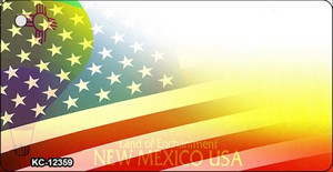 New Mexico with American Flag Wholesale Novelty Metal Key Chain KC-12359