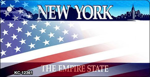 New York with American Flag Wholesale Novelty Metal Key Chain KC-12361