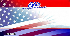 Ohio with American Flag Wholesale Novelty Metal Key Chain KC-12364