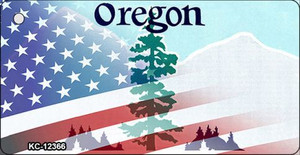 Oregon with American Flag Wholesale Novelty Metal Key Chain KC-12366